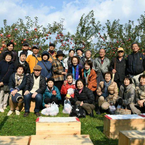 高知県から、みちのく旅行で青森に。りんごのもぎ取り(収穫)をしていただきました。